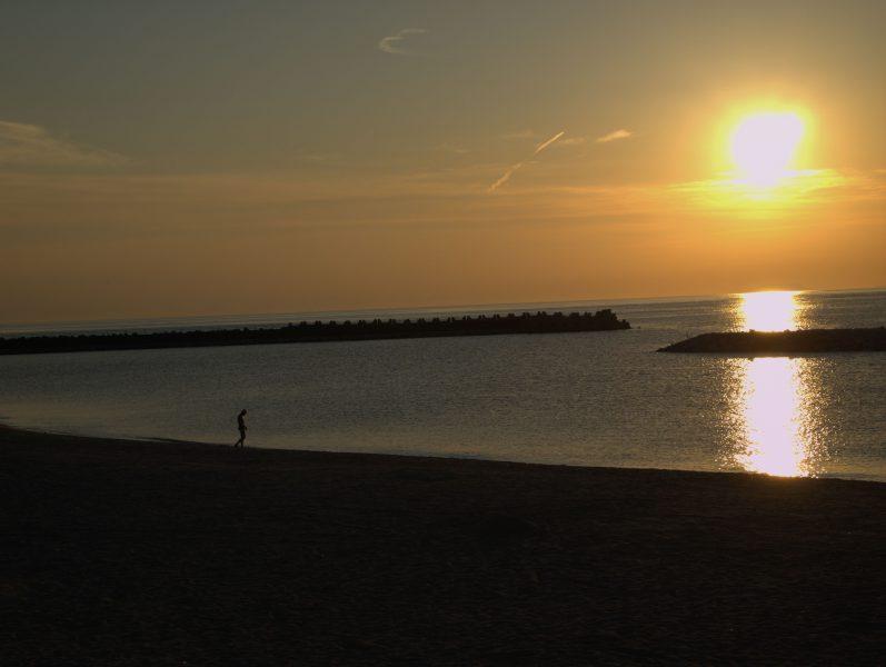 双海,夕日