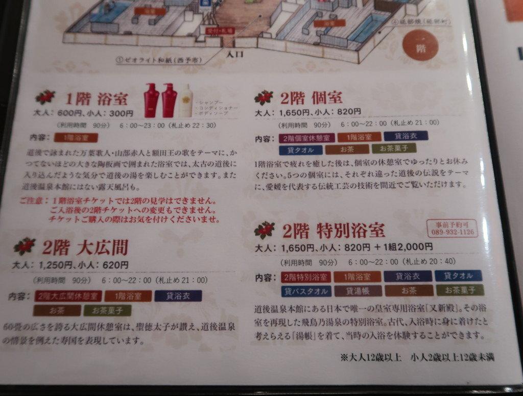 飛鳥乃湯の4つの入浴コース