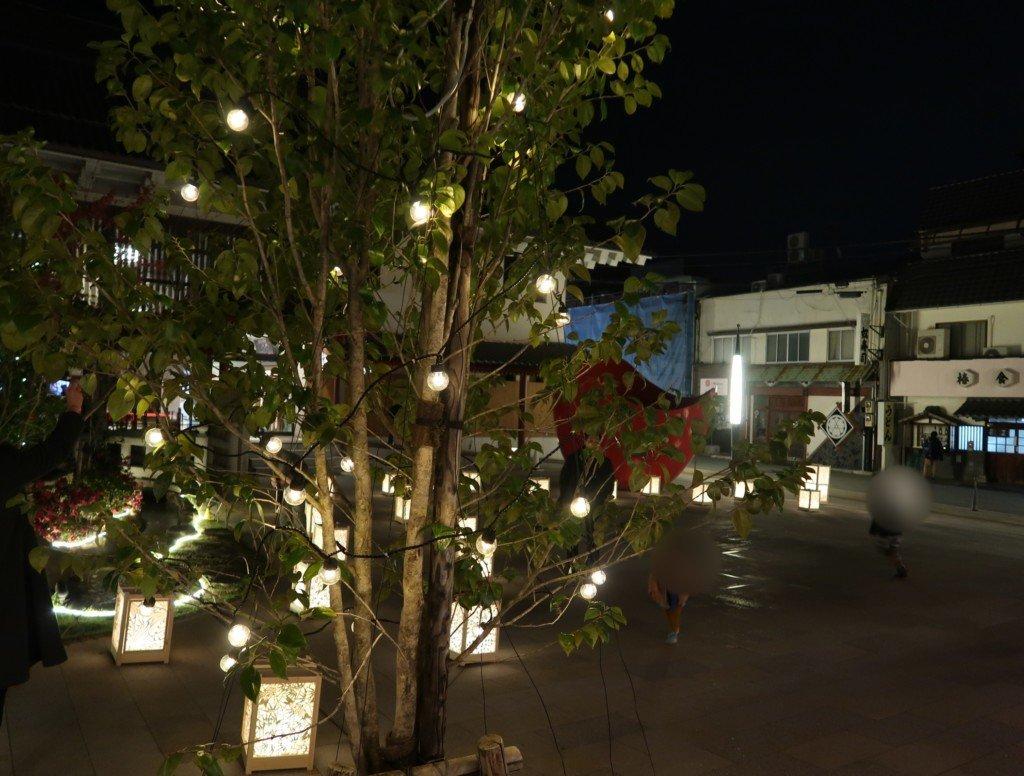 飛鳥乃湯の夜のライトアップ(イルミネーション)