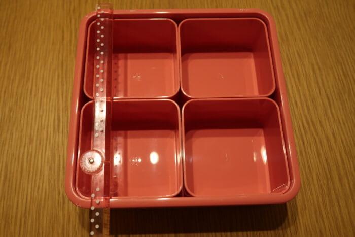 アフタヌーンティー3段ランチボックスの1箱の大きさ
