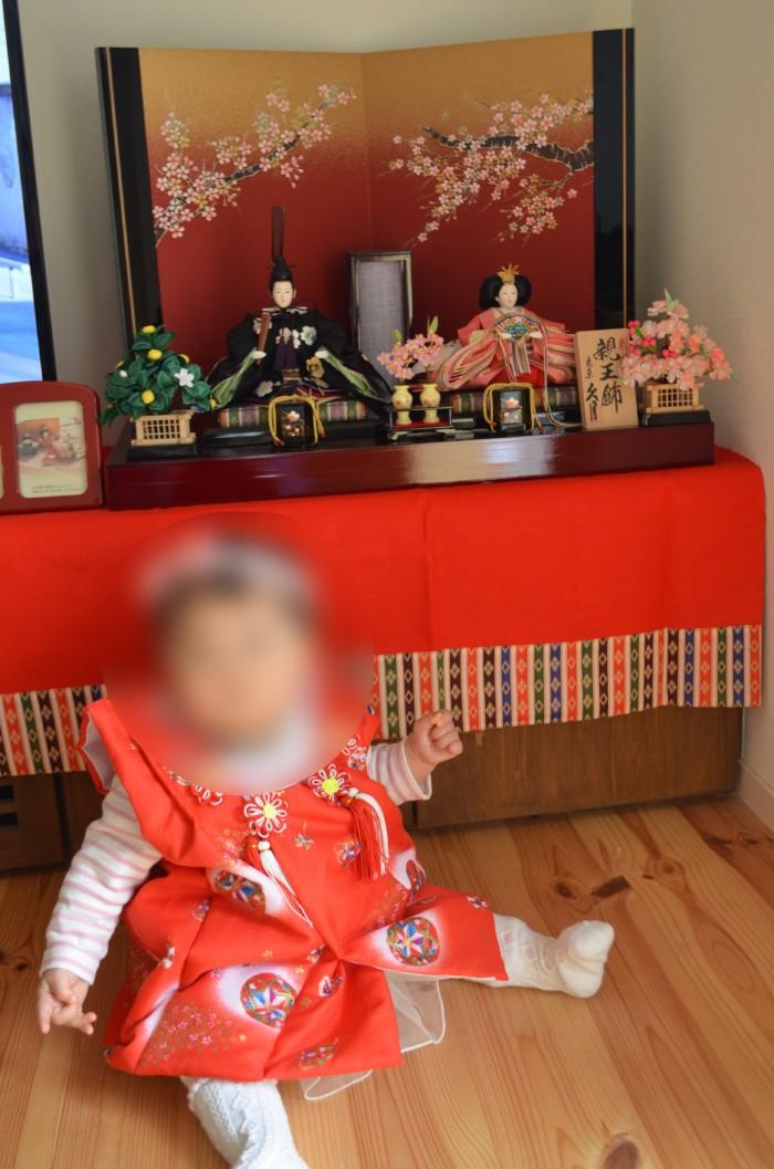 人形の光商会で購入した雛人形と子供