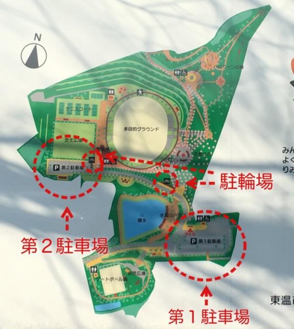 東温市総合公園の駐車場の地図