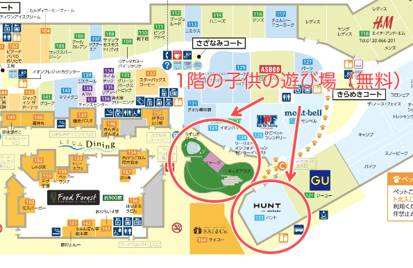 今治イオン1階の子供が無料で遊べる場所の地図