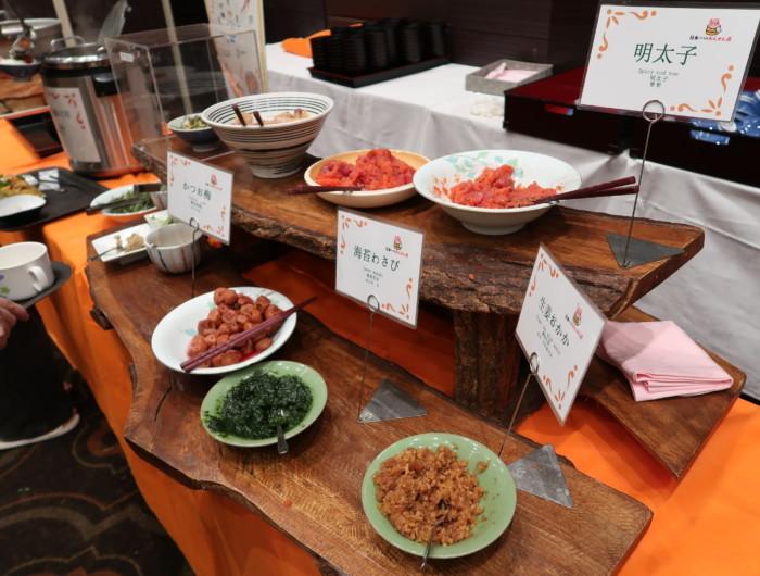 ホテル&リゾーツ別府湾,朝食バイキングのメニュー(ごま出汁茶漬け)