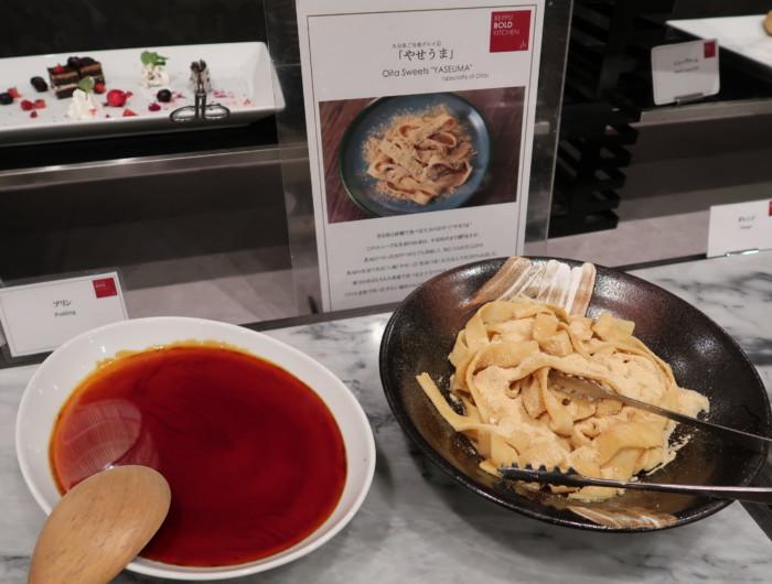 亀の井ホテルバイキング『別府ボールドキッチン』の夕食のメニュー(やせうま)