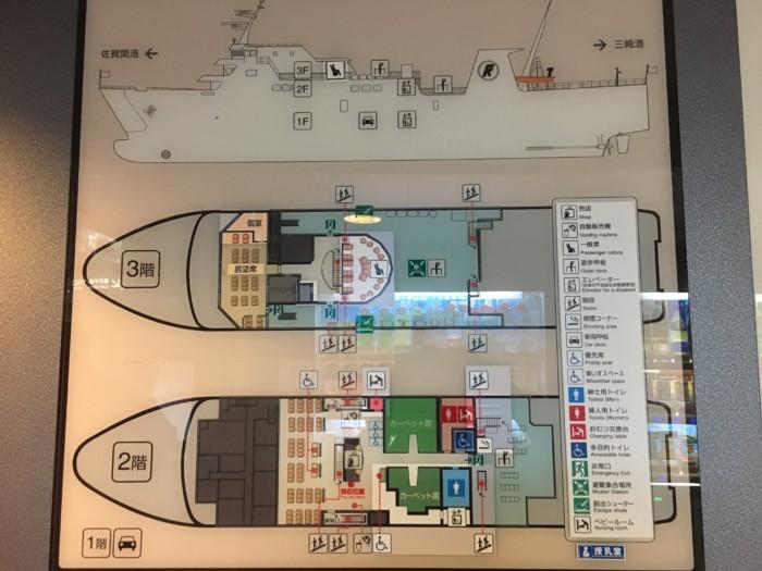 国道九四フェリーの船内地図