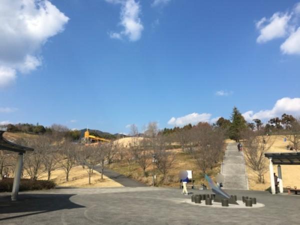 ハロウィンの森(東温市)の駐車場から公園までの階段