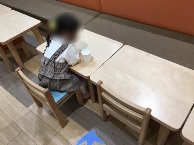 重信フジのこもれびキッチンのキッズスペース(テーブル席)