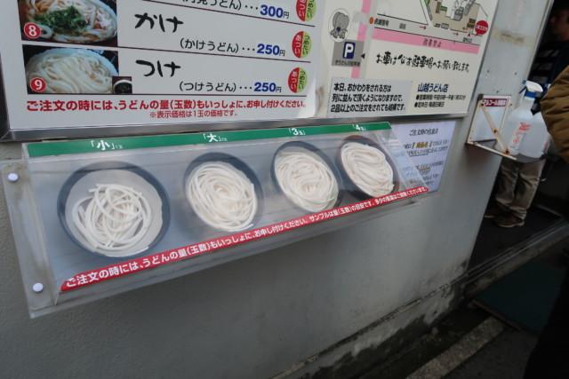 山越うどん(香川)のうどんのサイズ