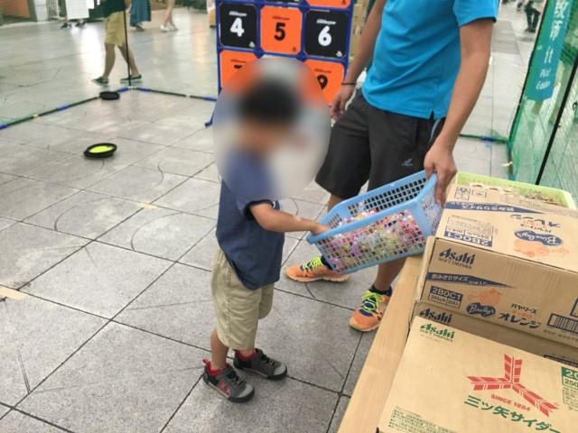 松山の土曜夜市(2019年)の子供スポーツ体験