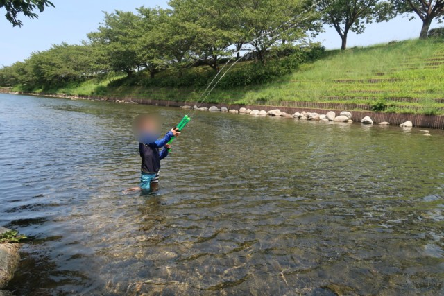 赤坂泉公園(砥部町)の川で遊ぶ子供